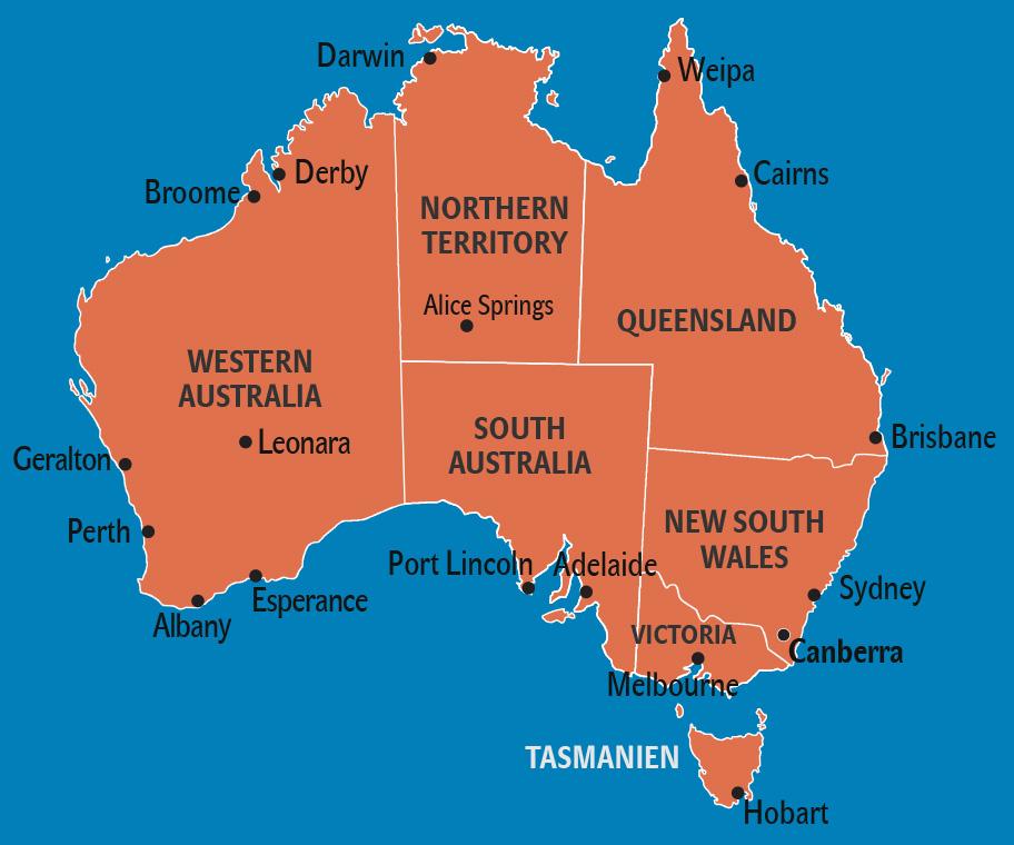 Australien Reisetipps Einreise Karte Landerinfos
